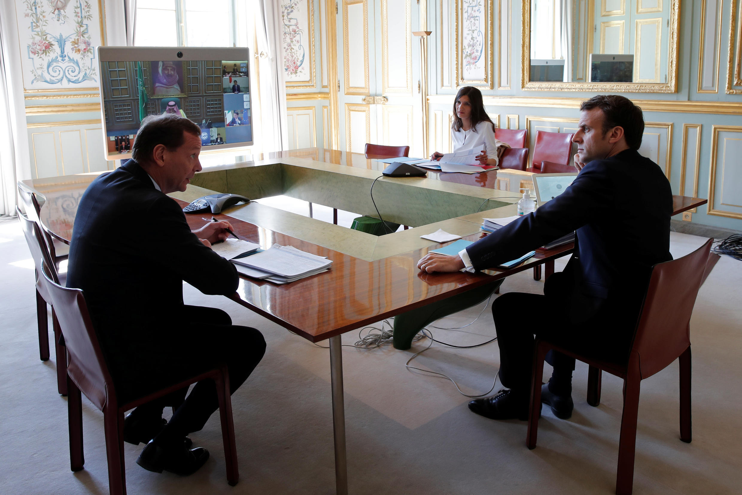French President Emmanuel Macron during a G20 videoconference on the Covid-19 pandemic