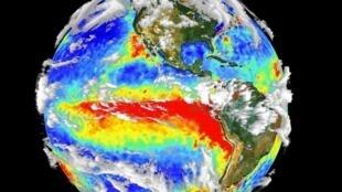 Surface de l'océan recouvert par le courant chaud d'El Niño.