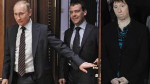 Слева направо: новоизбранный президент РФ Владимир Путин и действующий президент РФ Дмитрий Медведев в Москве 6 марта 2012 г. Глава еврвопейской дипломатии Кэтрин Эштон в Праге 5 марта 2012 г.