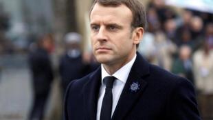 Le president français Emmanuel Macron durant la cérémonie de célébration de l'armistice, le 11 de novembre 2017.