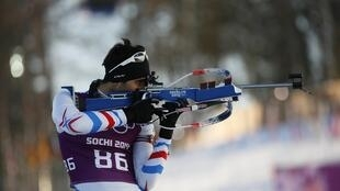 French biathlete Martin Fourcade competing at the Sochi Olympics in 2014.