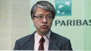 Jean-Laurent Bonnafé, directeur général de la banque BNP-Paribas lors de la présentation des résultats annuels de la banque pour 2013. Paris le 13 février 2014.