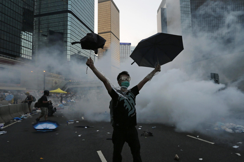 Mmoja kati ya waandamanaji Hong Kong, Septemba 28.
