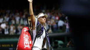 L'Allemande Angelique Kerber après sa défaite en demi-finale à Wimbledon le 8 juillet 2021