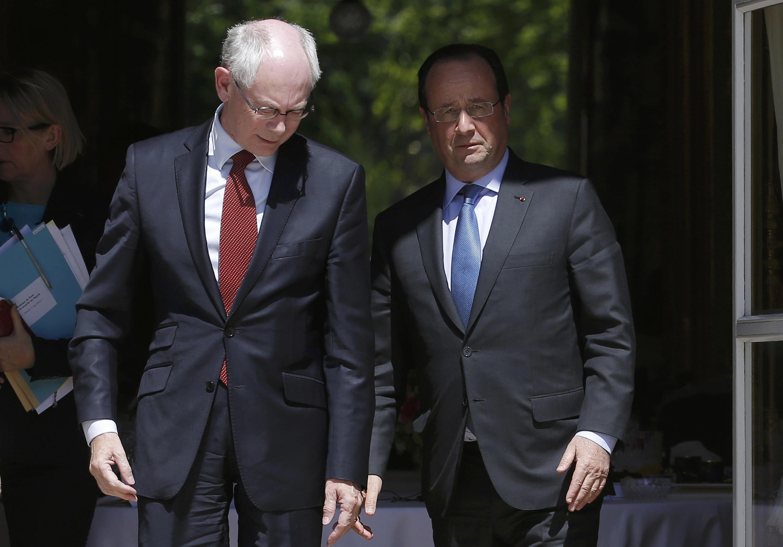 Председатель ЕС Херман ван Ромпей и президент Франции Франсуа Олланд