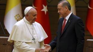 Папа Франциск и Реджеп Тайип Эрдоган в президентском дворце в Анкаре 28/11/2014