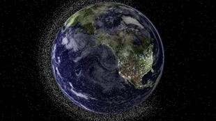 Earth from geostationary height depicting swarms of space debris. Things aren't great at ground level either.