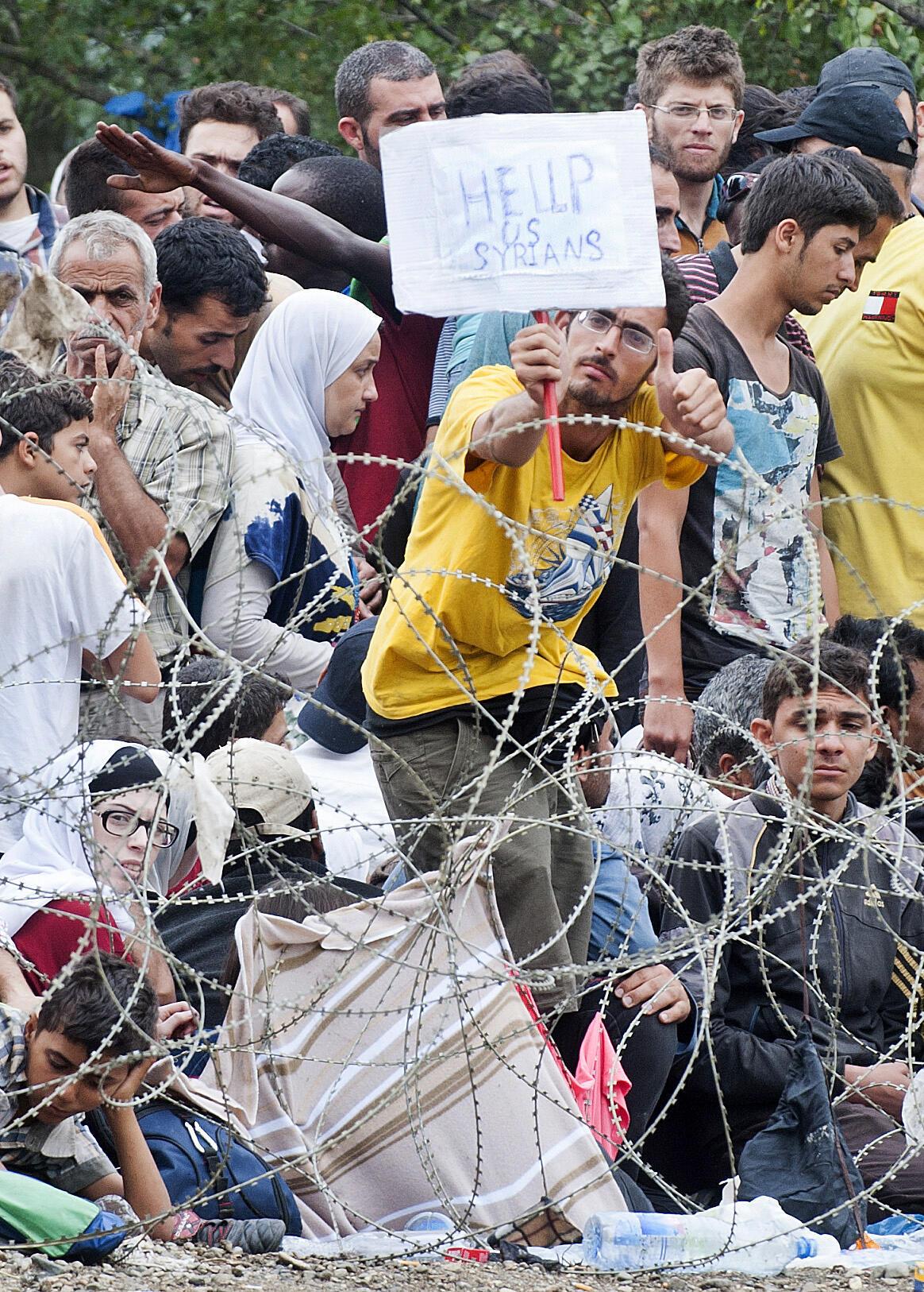 Migrants syriens le long de la frontière entre la Macédoine et la Grèce