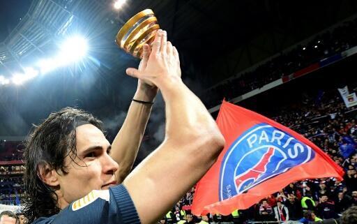 L'attaquant du PSG Edinson Cavani après la victoire en finale de la Coupe de la Ligue, le 1er avril 2017 à Lyon