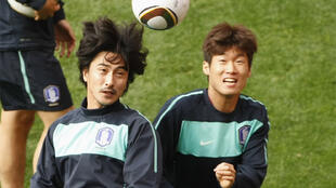 South Korean players train at Nelson Mandela Bay stadium, in Port Elizabeth