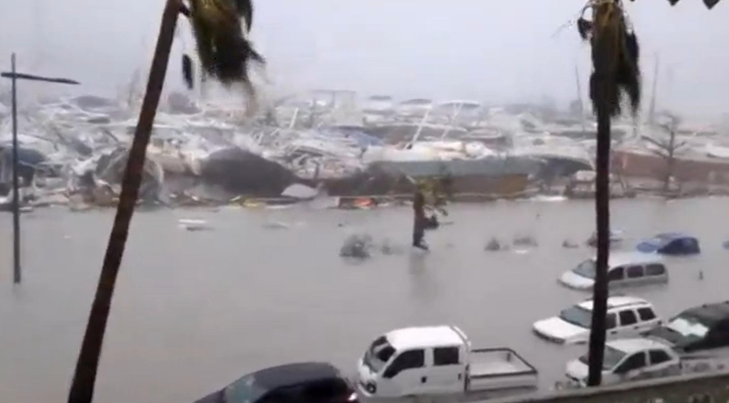 Flooded harbour of St Martin as Hurricane Irma hit the French island territory on 6 September, 2017