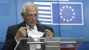 El jefe de la diplomacia de la Unión Europea, Josep Borrell, durante conferencia de prensa en Bruselas, el 21 de septiembre de 2020