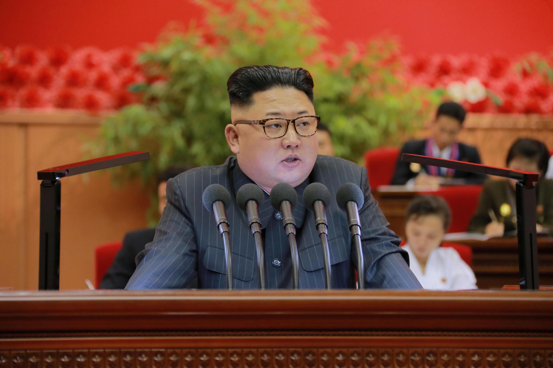 Lãnh đạo Bắc Triều Tiên Kim Jong Un phát biểu nhân Đại hội lần thứ 9 của Đoàn Thanh Niên Cộng Sản Bắc Triều Tiên, tại Bình Nhưỡng, ngày 29/08/2016.