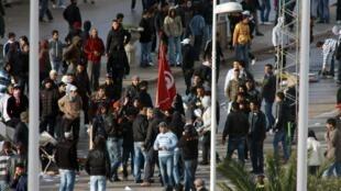 Les jeunes Tunisiens se révoltent et n'hésitent pas à descendre dans les rues. Cité d'Ettadhamen, dans la banlieue ouest de Tunis, le 12 janvier 2011.