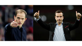 Les entraîneurs Thomas Tuchel (PSG) et Julien Stéphan (Rennes).