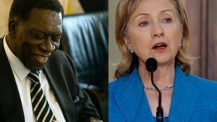 Os chefes das diplomacias de Angola e dos Estados Unidos, respectivamente Assunção dos Anjos e Hillary Clinton