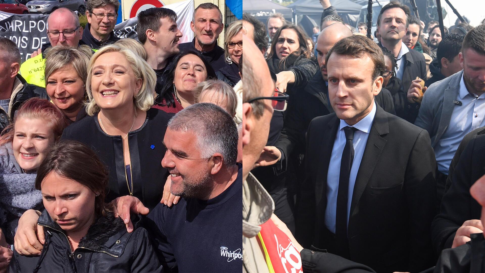 Durant la campagne présidentielle, Marine Le Pen et Emmanuel Macron ont rendu visite aux salariés de l'usine Whirlpool d'Amiens, en avril 2017.