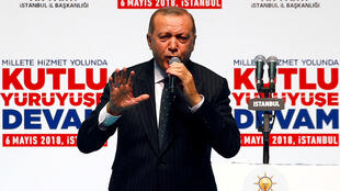 Turkish President Tayyip Erdogan speaks at his ruling AK Party's Istanbul congress