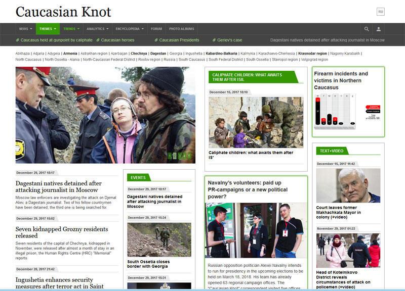 Capture d'écran du site en anglais du journal « Caucasian Knot ». Grigory Shvedov est le redacteur en chef de ce journal.
