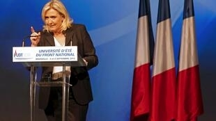 Marine Le Pen at the National Front (FN) summer school, Septembre 6 2015.