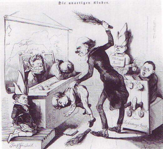 Học trò hư, ảnh biếm họa trên báo Đức năm 1849.
