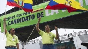 Acto de campaña de Rafael Correa.
