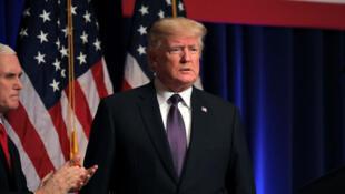 Le président des États-Unis Donald Trump arrive pour faire des remarques au sujet de la stratégie de sécurité nationale de l'administration, dans un discours à Washington, le 18 décembre 2017.