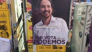 This poster shows Pablo Iglesias, the founder of Spanish political party Podemos.