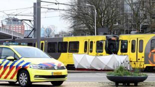 O lugar onde ocorreu o tiroteio, em Utreque (Holanda)