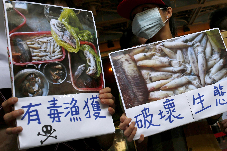 Biểu tình trước trụ sở tập đoàn Formosa ở Đài Bắc ngày 17/06/2016 đòi điều tra về thảm họa cá chết tại Việt Nam.