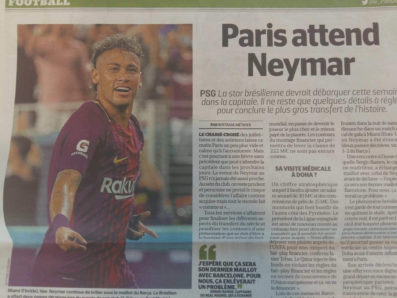 """Paris espera por Neymar"", título do jornal Aujourd'hui en France"