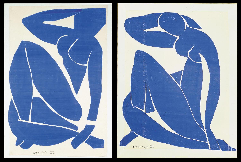 Анри Матисс. Синее ню II и III. 1952 г. 116,2 × 88,9 см / 112 × 73,5 см. Музей современного искусства, Центр Помпиду, Париж