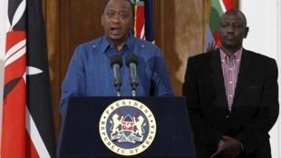 Rais Uhuru Kenyatta na naibu wake William Ruto, Aprili 4, 2015.