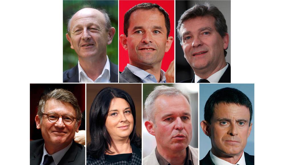 Les sept candidats à la primaire de la gauche (scrutin des 22 et 29 janvier 2017).