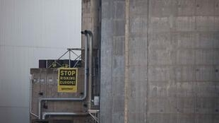 Greenpeace activists at France's oldest nuclear reactor at Fessenheim, Alsace