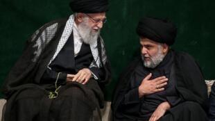 L'ayatollah Ali Khamenei rencontre l'Irakien Moqtada Sadr lors d'une cérémonie pour le jour chiite de l'Achoura, à Téhéran le 10 septembre 2019.