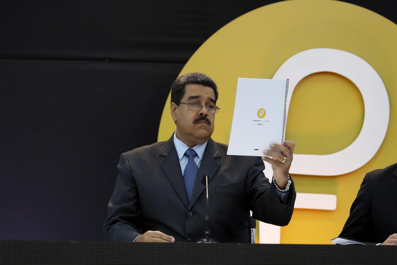 Le président vénézuélien Nicolas Maduro lors du lancement de la nouvelle cryptomonnaie, à Caracas, le 20 février 2018.