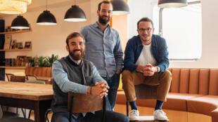 Guillaume Alcan, Thibault Repelin et Antoine Vigneron, les trois fondateurs de la Marque M. Moustache