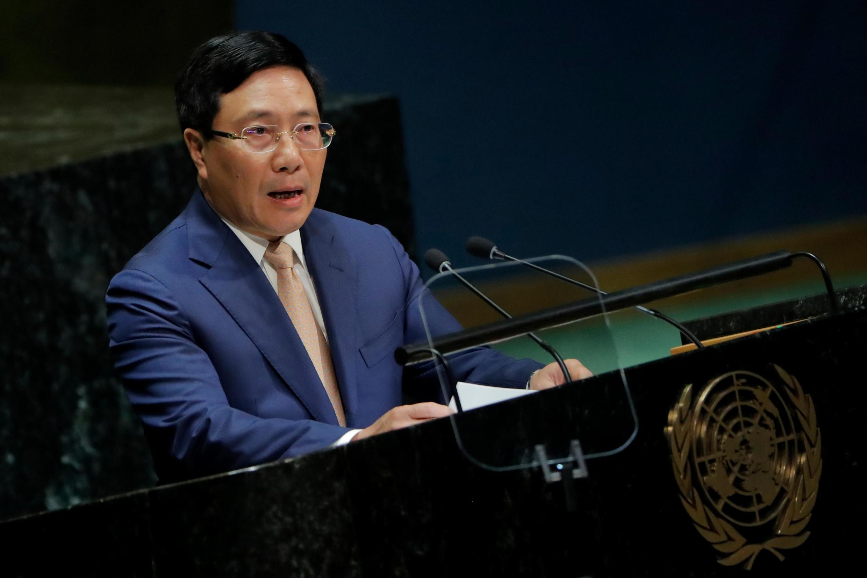 Ngoại trưởng kiêm phó thủ tướng Việt Nam Phạm Bình Minh phát biểu tại Đại Hội Đồng Liên Hiệp Quốc, ngày 28/09/2019.