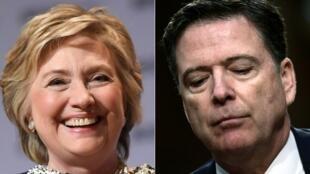 Photomontage avec l'ex-secrétaire d'Etat Hillary Clinton, le 1er juin 2017 à New York, et l'ancien directeur du FBI James Comey, à Washington le 8 juin 2017.