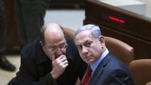 Le ministre de la Défense Moshe Yaalon et le Premier ministre Benyamin Netanyahu à la Knesset, le 1er décembre.