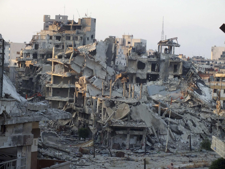 Un quartier de Homs, déserté, et complètement détruit par les bombardements de l'armée syrienne, le 13 juillet 2013.