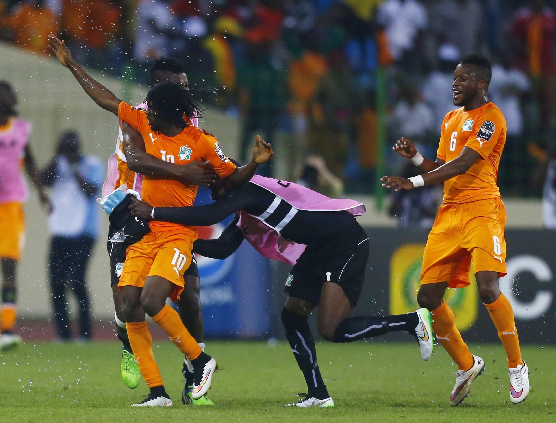 Côte d'Ivoire's Kouassi Gervais celebrates his goal during their quarter-final match against Algeria