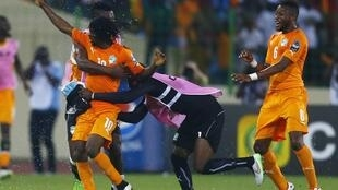 Côte d'Ivoire's Kouassi Gervais celebrates his goal during their quarter-final match against Algeria