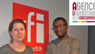 Catinca Birna, chargée de la mobilité à l'AUF et Roméo Karl Imboumy Limoukou, doctorant gabonais à l'AUF.