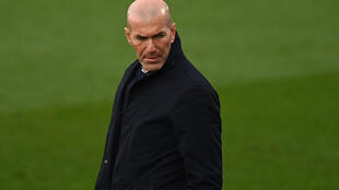 L'entraîneur du Real Madrid Zinédine Zidane lors d'un match contre Eibar, au stade Alfredo Di Stefano, le 3 avril 2021