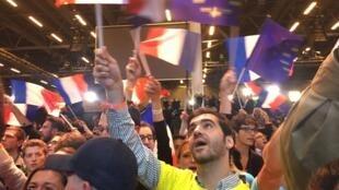 Partidarios de Emmanuel Macron, este 23 de abril de 2017 en París.