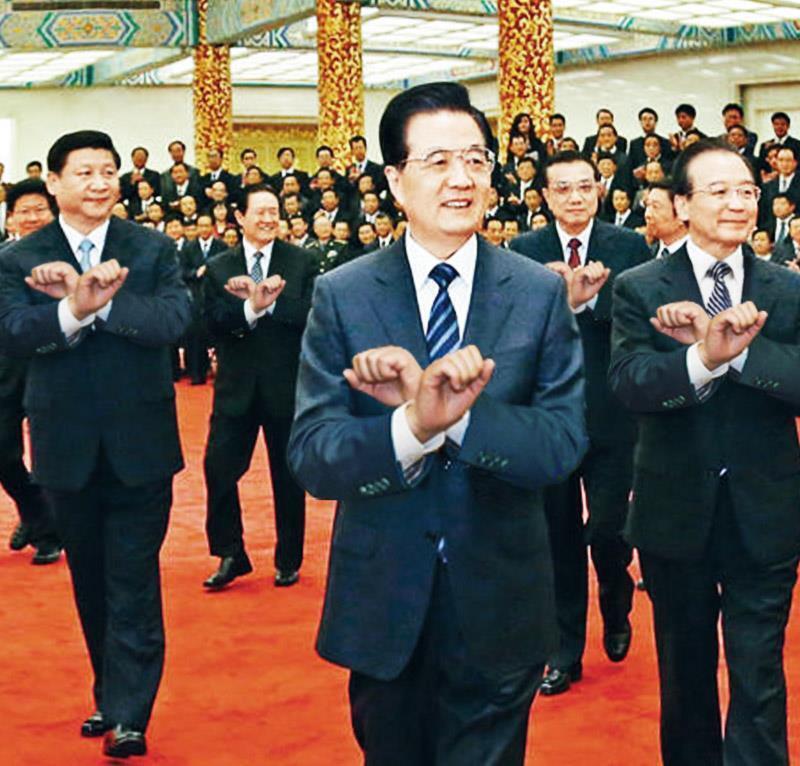 Photomontage des leaders politiques chinois dansant le Gangnam style, en novembre 2012.