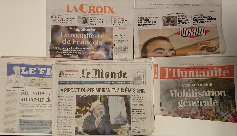 Primeiras páginas dos jornais franceses  08 de janeiro de 2020