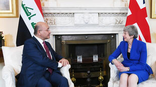 Le président irakien Barham Saleh lors d'une rencontre avec Theresa May le 25 juin 2019 à Londres.